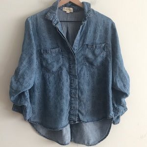 Cloth & Stone Chambray Printed Blouse Size S